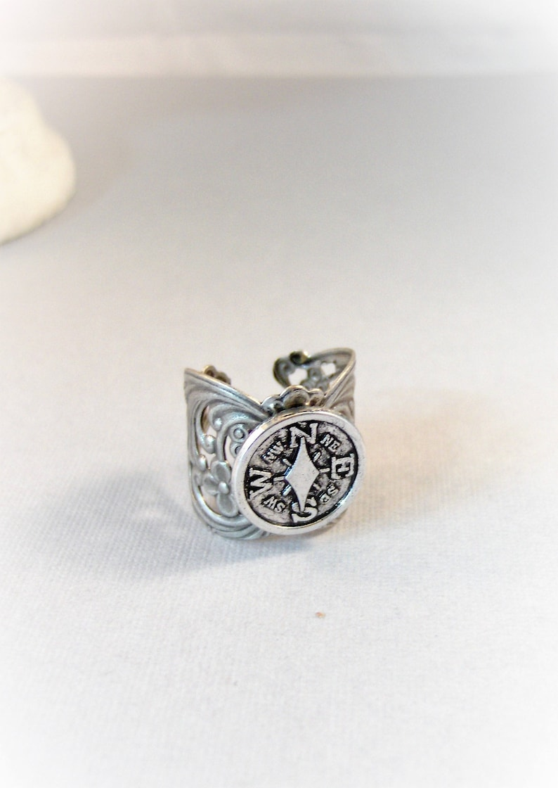 Compass Ring,Ring,Compass Jewelry,Compass,Wanderer,Wander Jewelry,Spoon Ring,Antique Ring,Silver Ring,Wrapped,Adjustable valleygirldesigns