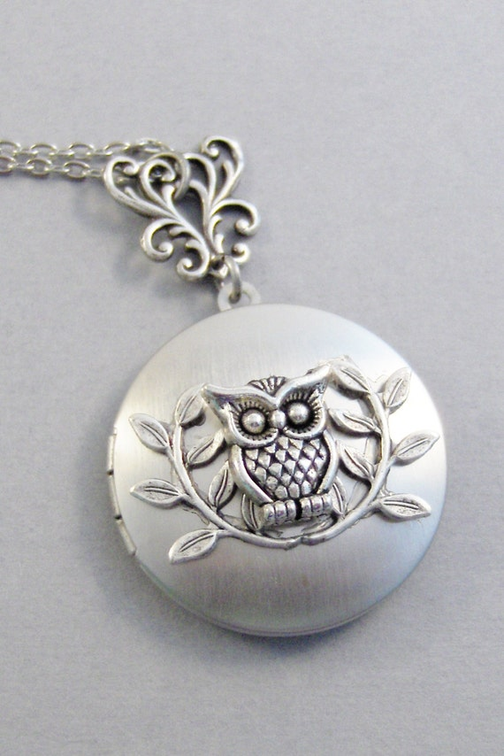 Twiggs and Owl,Owl Necklace,Owl Locket,Owl Jewelry,Owl in Handmade,Owl Pendant,Woodland Owl,Night Owl,silver Owl,valleygirldesigns.