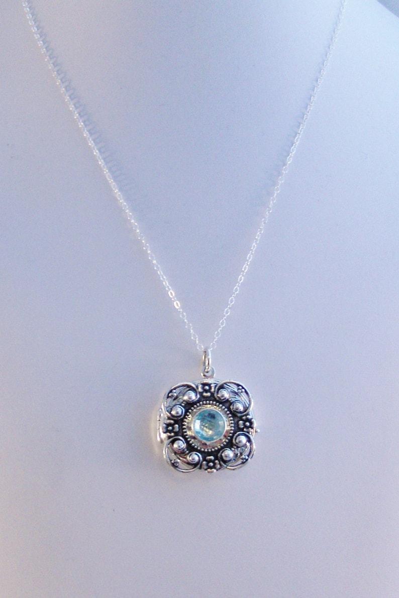 Aquamarine Locket,Aquamarine Necklace,Aquamarine Locket,Silver Locket,Sterling Silver Locket,Birthstone,Birthstone Necklace,March Birthstone