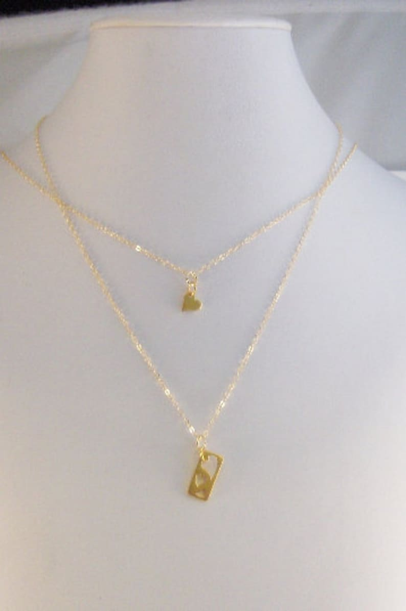 Mother Daughter,Necklace,Gold,Gold Necklace,Gold Mother Daughter Necklace,Mom Necklace,Mom Jewelry,Mother,Heart Heart Necklace,Love you,