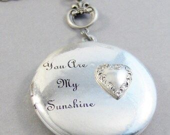 Sunshine Heart,You Are My Sunshine,Sunshine Locket,Sunshine,Sun,Locket,Silver Locket,Heart,Antique Locket,Antique,Woodland,valleygirldesigns