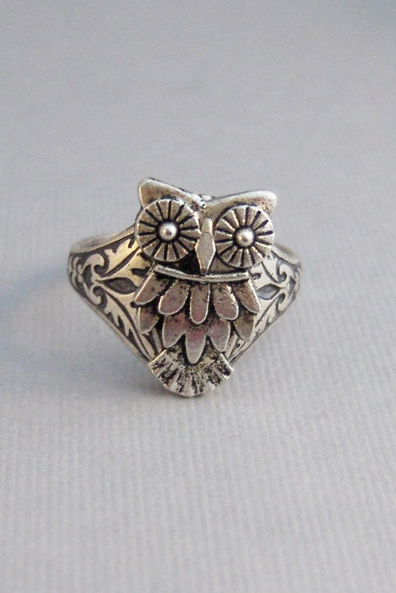 LIttle Owl,Ring,Owl,Spoon Ring,Owl spoon ring,Silver,Bird,Owl Ring,Owl,Woodland,Tree Owl,Antique Ring,Silver Ring,Spoon Ringvalleygirldesign