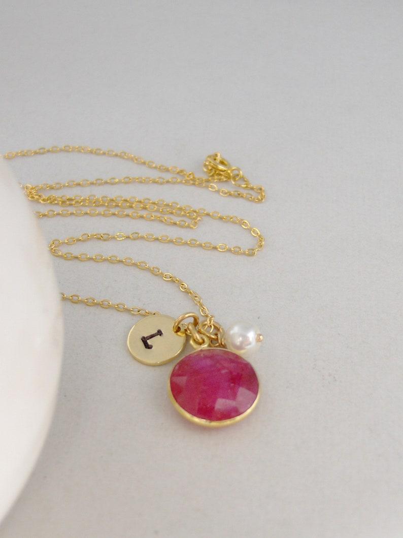 July Birthstone Necklace,Gold Ruby,Genuine Ruby,Healing Gemstone,Initial Necklace,Ruby Necklace,Ruby Necklace,Monogram Necklace,Pearl Neck