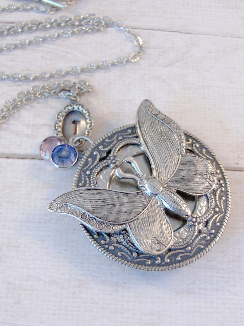 Sweet Butterfly,Personalized Necklace,Butterfly Necklace,MonogramNecklace,Butterlfy locket.Locket,Butterfly,Silver Locket,Butterfly Locket