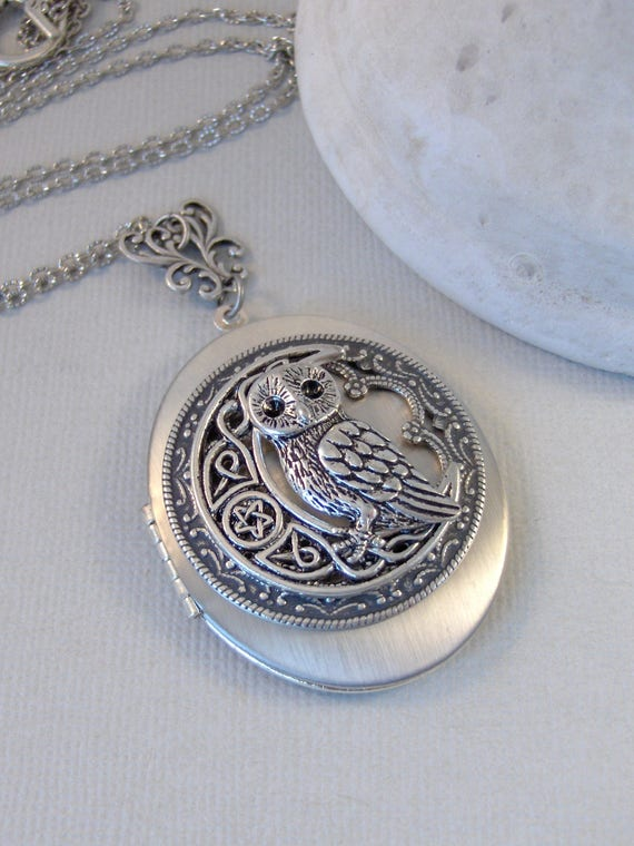 Celtic Moon Hoots,Owl,Moon Locket,Owl Necklace,Owl Locket,Silver Locket,Woodland Necklace,moon Necklace,Rustic,Antique Locket,valleygirldesi