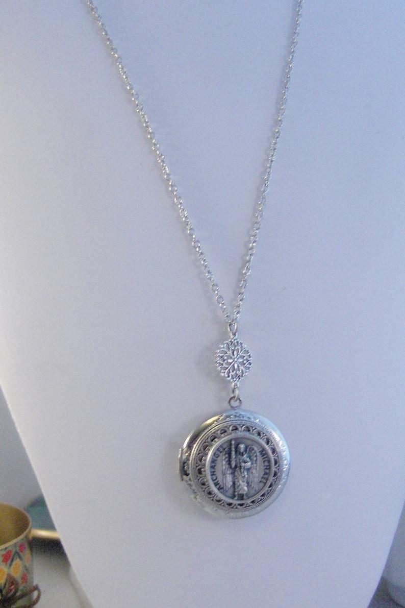 SALE Archangel Michael,Necklace,Locket,Michael,Silver Locket,Mens,Saint,Medal,Silver,Religious,Religious Jewelry,Religious Necklace,valleyg