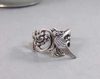 Angel's Wing,Ring,Angel,Wing,Angel Wing Ring,Silver,Guardian Angel,Antique Ring,Silver Ring,Key Ring,Gypsy,Angel Wing, valleygirldesigns.