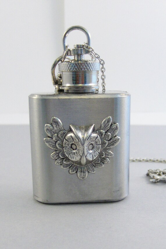 Owl Flask,Owl Necklace,Owl Jewelry,Owl Flask,New Years,Drink,Bachelorette,Wedding,Birthstone,Woodland Necklace,Owl,valleygirldesigns.