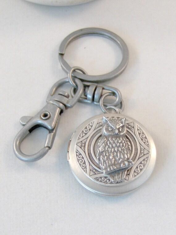 Owl Keychain,Mens Keychain,Owl Locket,Fathers Day,Fathers Day Gift,Dad Locket,Dad Necklace,Fathers Necklace,owl Locket Keychain