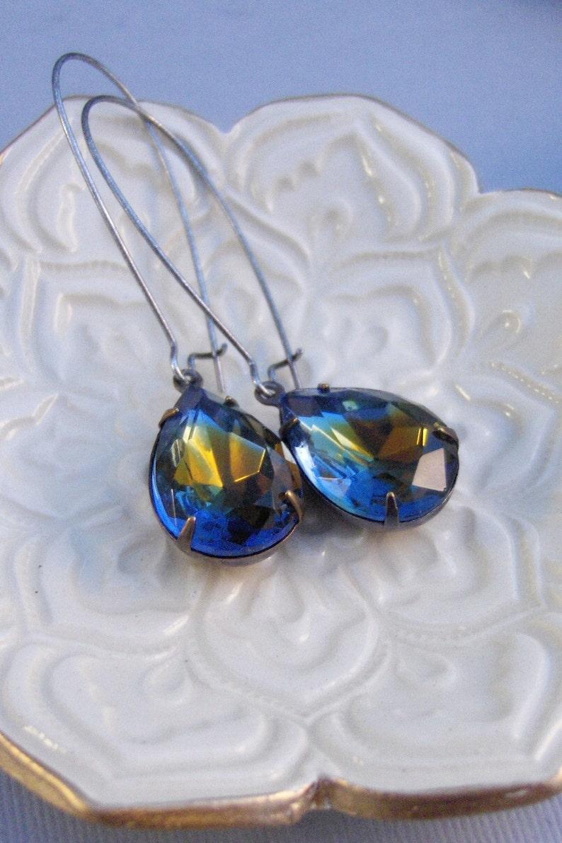Vintage Sapphire,Vintage Earrings Rhinestone,Silver Earrings,Sapphire Earrings,Sappire,Blue,Birthstone,September,Blue Topaz,