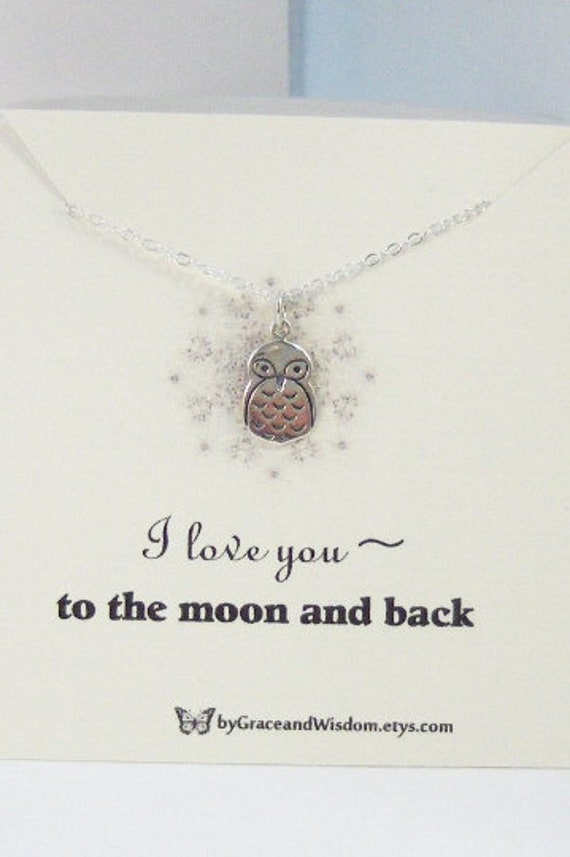 I Love You To The Moon And Back,Owl,Necklace,Woodland Necklace,Owl Necklace,Love Neckalce,Minimalist Necklace,Butterfly,Sterling Necklace
