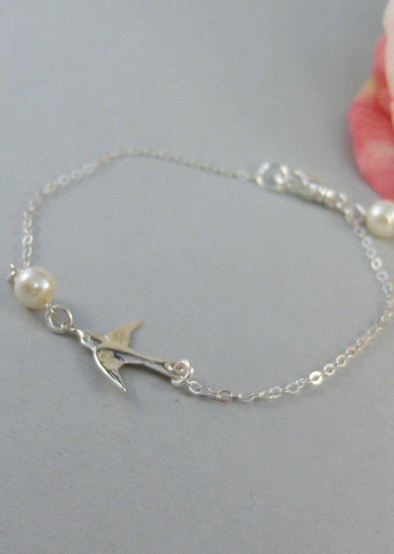 Sparrow/'s Bracelet,Bracelet,Silver,Silver Bracelet,Branch,Sterling Silver,Bird,Pearl,Bride,Wedding Handmade jewelry by valleygirldesigns.