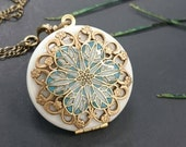 Victorian Vintage Style locket something blue Anniversary Bridesmaid gift Wedding Birthday Sister Mom Daughter Photo Picture friend.
