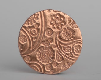 Paisley Copper Shapes Round Disc 25mm 26G 24G 22G Enameling Soldering Blanks 6 Pieces