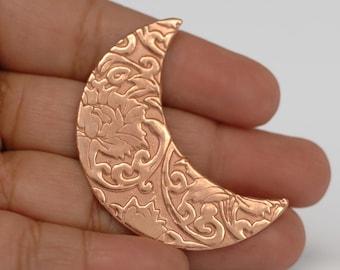 Crescent Moon shape w/ Lotus Flower texture for Enameling metal blanks