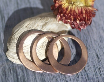 Copper Blanks Hoops 25mm 20g for Earrings or Pendant Offset Circle for Enameling Stamping Texturing