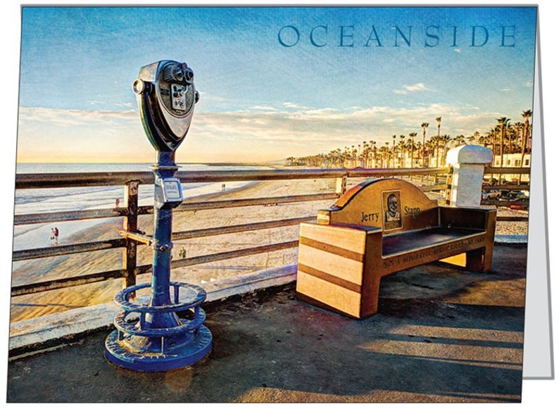 Oceanside Pier Bench Note Card