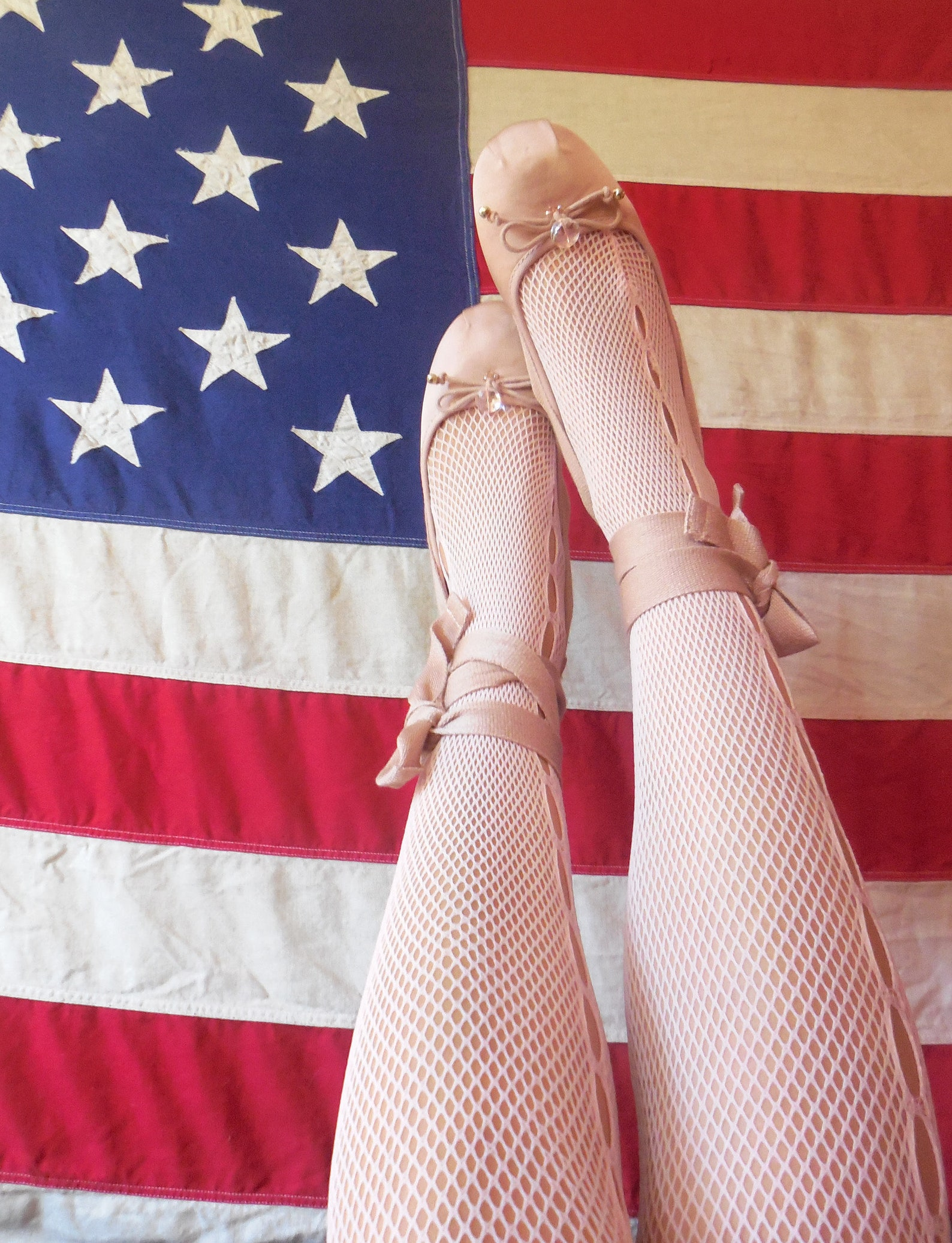 sale * twinkle toes * nude-pink hand-embroidered ballet flats with bells, crystal beads, and wrap around ties