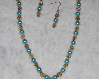 Light Blue and Champagne Necklace and Earrings Jewelry Set
