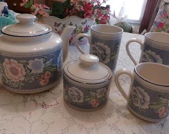 7 PC Shabby Chic Tea Set, Pink & Blue Floral, Taiwan, Teapot