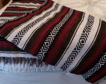 Vintage Mexican Striped Blanket, Dark Red, Gray, Black, Throw Blanket, Couch Throw, Picnic Beach Blanket, BOHO Chic, Bohemian