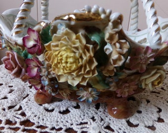 Vintage Reticulated Porcelain Basket, Hand Painted Applied Flowers, Candy Dish, Trinket Dish, Capodimonte Style