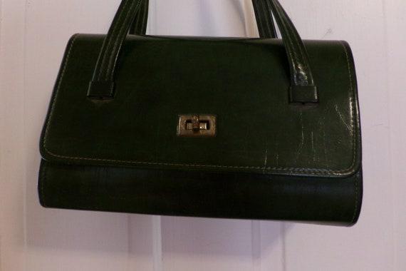 Mid Century 60's Dark Green Handbag, Green Vinyl … - image 2