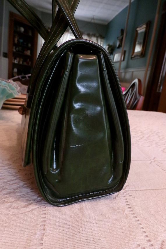 Mid Century 60's Dark Green Handbag, Green Vinyl … - image 7