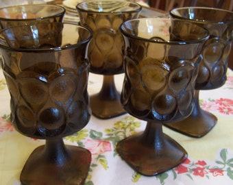 5 Unused Brown Noritake Spotlight Goblets, Smoke Stemware, Wine Goblets, Teardrop Smoked Glass, 1970s-80s Barware,