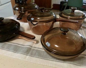 Assorted Pans, 1980s Amber  Corning Vision Sauce Pans & Skillets, with Lids, USA, 1 Qt, 1.5 Ltr with Lid, , 1980s Cookware