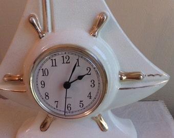 Vintage White Ceramic Mantle Clock, Schooner, Non Working, White w/Gold Trim, Office Desk Clock, Nautical Theme, Man Cave, Office, Den Clock