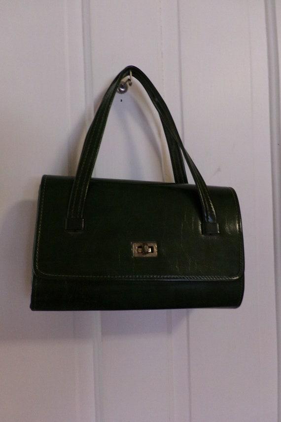 Mid Century 60's Dark Green Handbag, Green Vinyl … - image 1