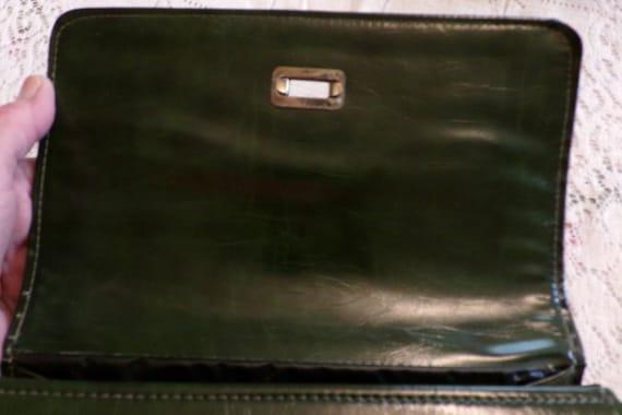 Mid Century 60's Dark Green Handbag, Green Vinyl … - image 5