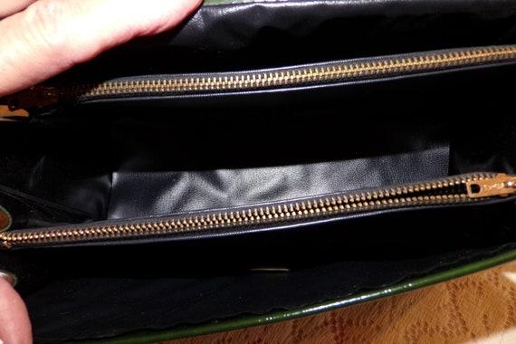 Mid Century 60's Dark Green Handbag, Green Vinyl … - image 8