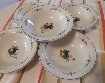 5 Vintage Oneida Farmhouse Kitchen Stoneware Berry Bowls, Farm Friends, Roosters, Teal, Blue, Orange Fruit/Dessert Bowls, Retired, 1980s-90s