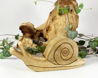 snail wooden animal toy, waldorf wood toys for toddlers, snail figurine