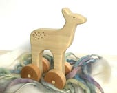deer waldorf wooden push toy, organic natural first wood toy for baby