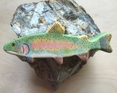 rainbow trout wooden figurine gift for nature lover, wooden waldorf animal toys