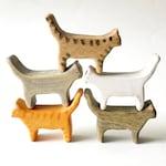 cat wooden figurine, cat wooden toy, miniature cat, wooden animals