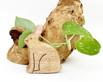 rabbit wooden waldorf toy animal, forest animal for toddlers pretend play