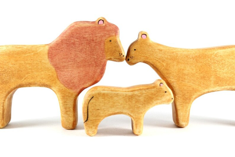 lion wooden animal toys lioness figurine waldorf animal toys natural toys for toddlers