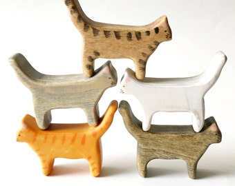 wooden cat figurine, cat wooden toy, wood toys, cats, miniature cat, waldorf toys