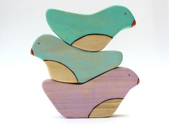 wooden toys for baby, balancing birds stacking wood toy, baby shower or first birthday gift