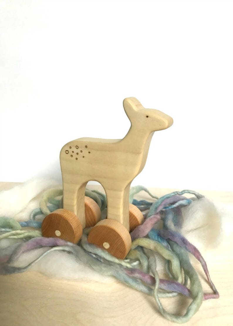 deer wooden baby toy natural toys for baby wooden push toy natural toys for babies
