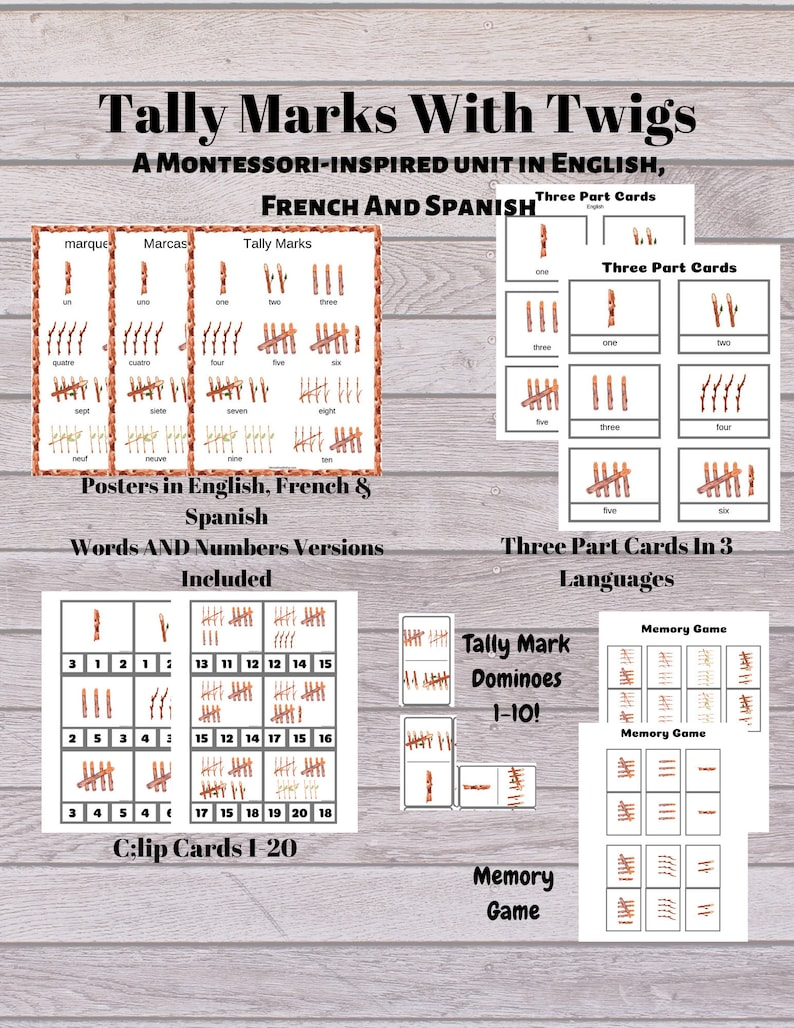 Tally Marks Stick Counting: A Montessori/Waldorf Inspired image 0