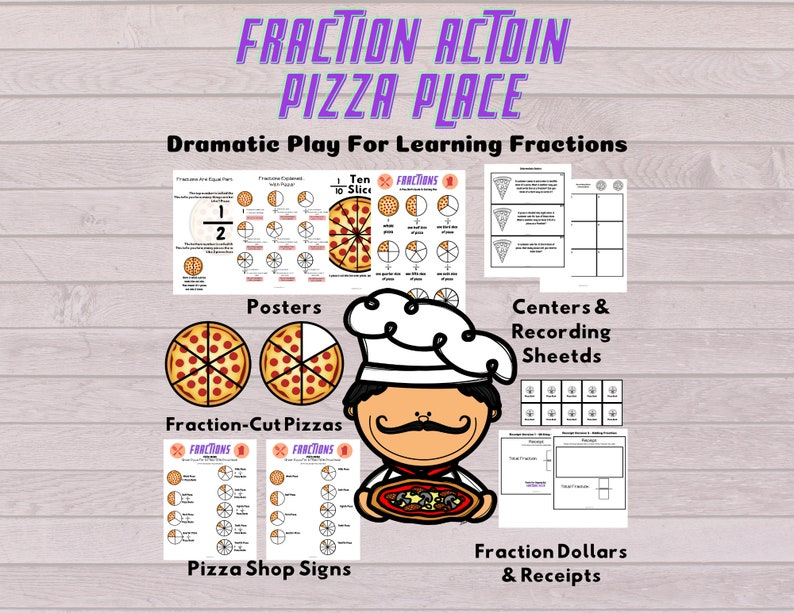 Fraction Pizza Restaurant Dramatic Play Center For learning image 1