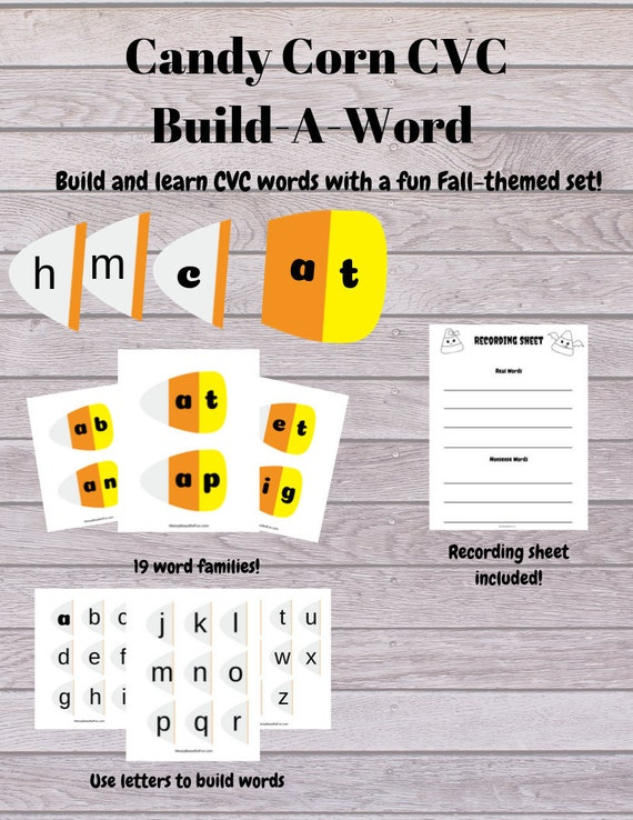 Candy Corn CVC Build A Word Printable Learning Game For