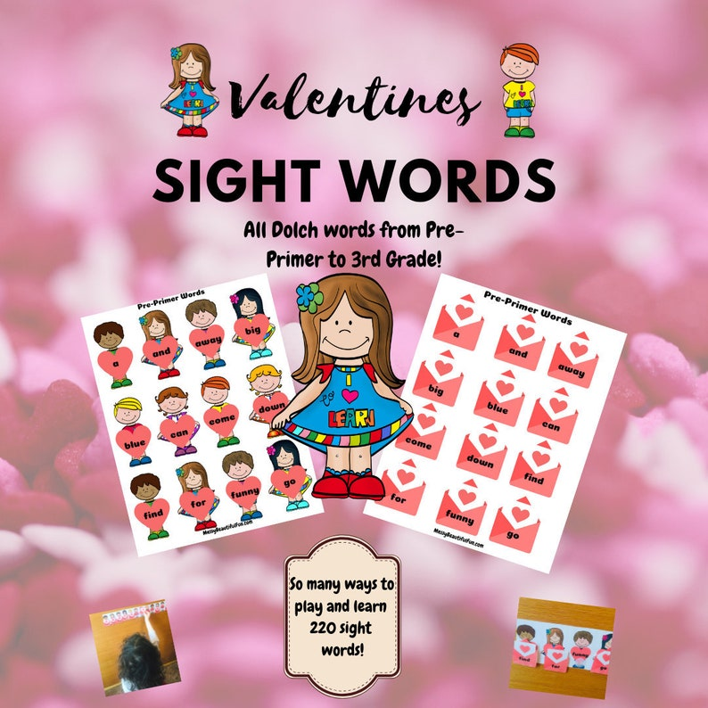 Valentines Dolch Sight Word Printable Game