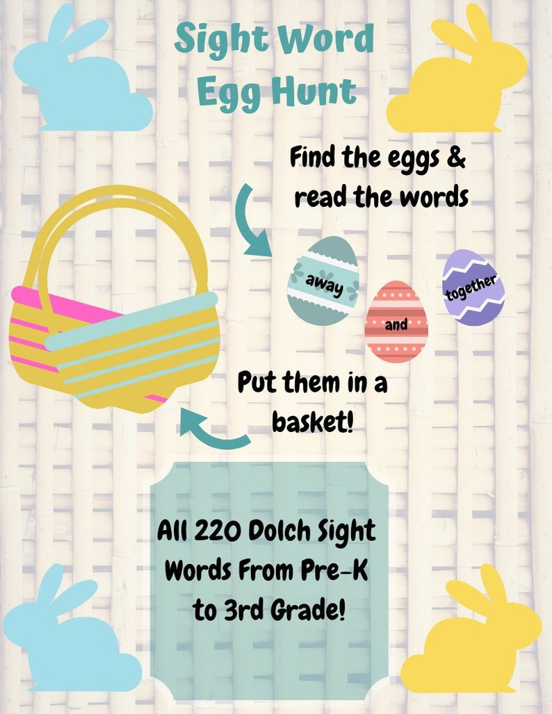 220 Dolch Sight Words Egg Hunt - Pre-Primer to Third Grade Levels Included  Printable