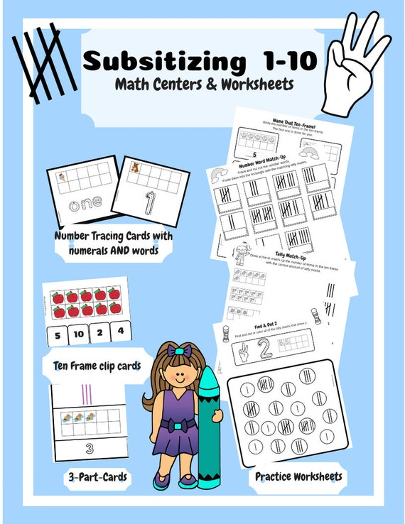 Printable Math Center: Subsitizing and Writing Numbers, Ten Frames, on math stuff to print, playdough center signs printables, math games, block center printables, math printable pages, daycare lady printables, president's day printables, math worksheets, reading printables, writing center printables, math for 12th graders, preschool center printables, school center printables, math daily 5 clip art, math sheets for 4 graders, math work, art printables, math for 1st graders, science center printables, i have who has printables,